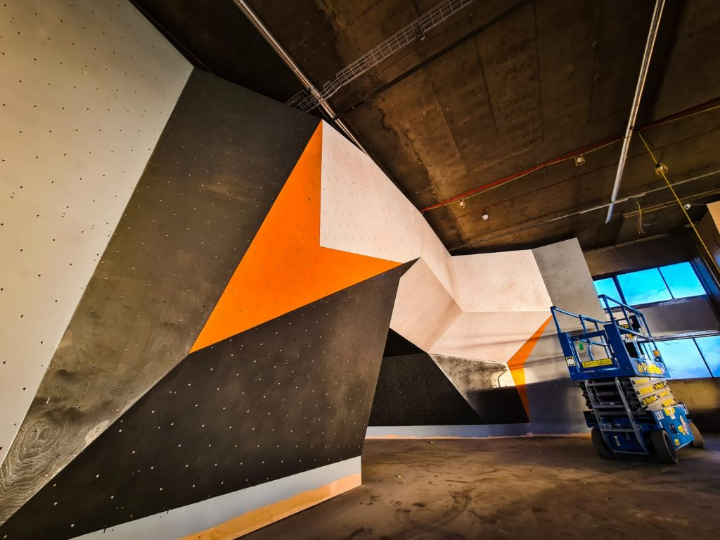 Fresh paint on the bouldering walls